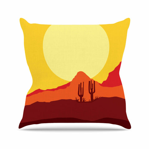 "Bruce Stanfield ""Mojave Desert"" Yellow Orange Digital Throw Pillow"