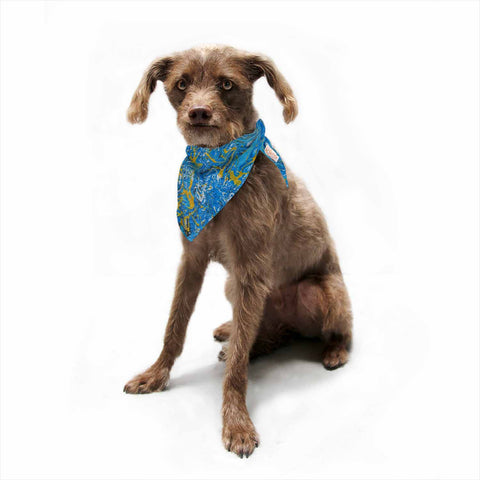 "Bruce Stanfield ""Marbled Blue And Gold"" Blue Gold Painting Pet Bandana"