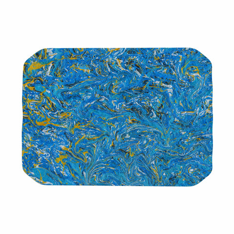 "Bruce Stanfield ""Marbled Blue And Gold"" Blue Gold Painting Place Mat"