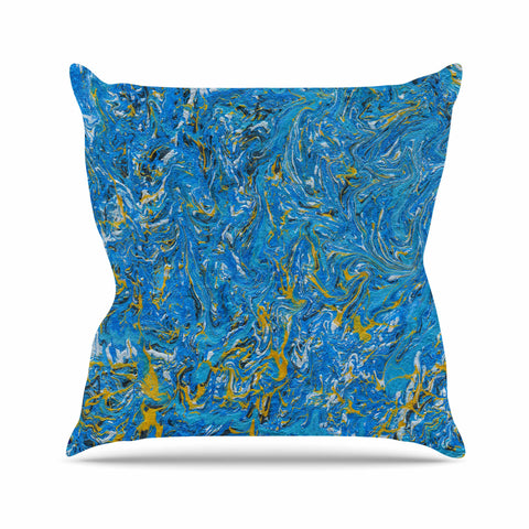 "Bruce Stanfield ""Marbled Blue And Gold"" Blue Gold Painting Throw Pillow"