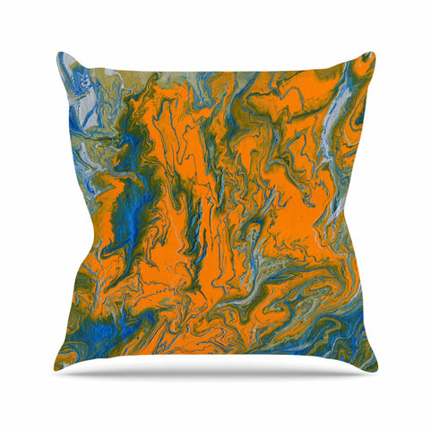 "Bruce Stanfield ""La Carte De La Vie"" Orange Blue Painting Throw Pillow"
