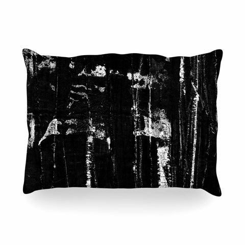 "Bruce Stanfield ""Distressed Grunge 101"" Black White Painting Oblong Pillow"