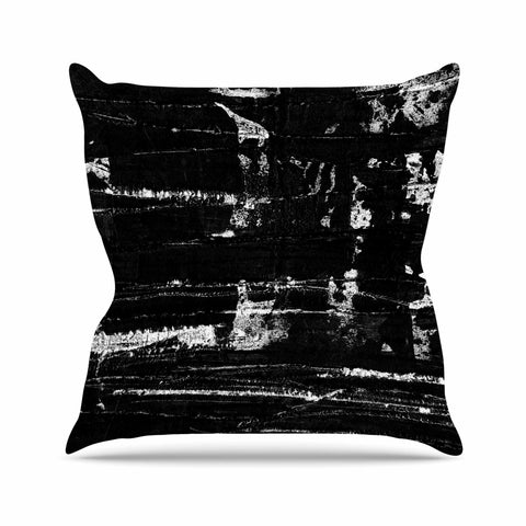 "Bruce Stanfield ""Distressed Grunge 101"" Black White Painting Throw Pillow"