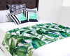 "Anneline Sophia ""Laurel Leaf Green"" Teal Floral Bed Runner"