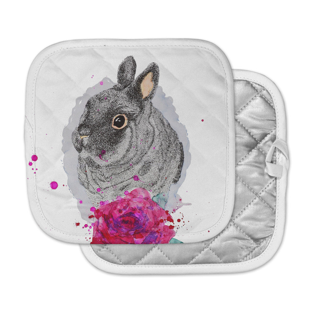 "Cecibd ""BunnyRose"" Animals Painting Pot Holder"
