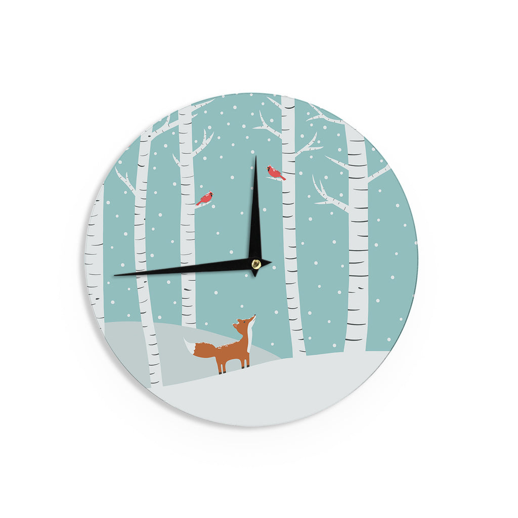 "Cristina bianco Design ""Fox Cardinals Winter"" Blue Kids Wall Clock - KESS InHouse"