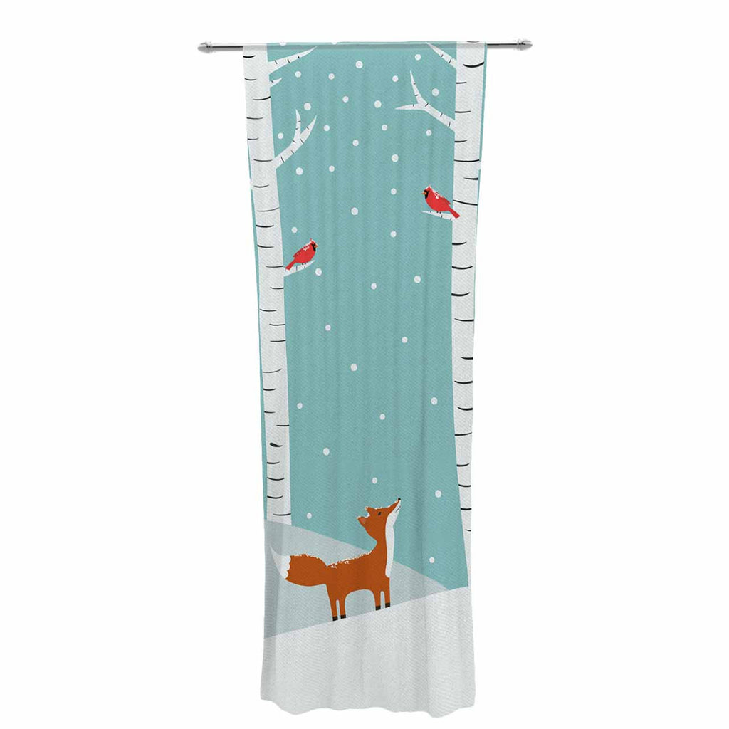 "Cristina bianco Design ""Fox Cardinals Winter"" Blue Kids Decorative Sheer Curtain - KESS InHouse  - 1"