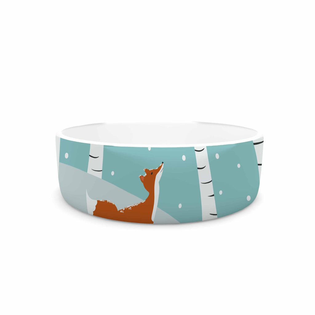 "Cristina bianco Design ""Fox Cardinals Winter"" Blue Kids Pet Bowl - KESS InHouse"