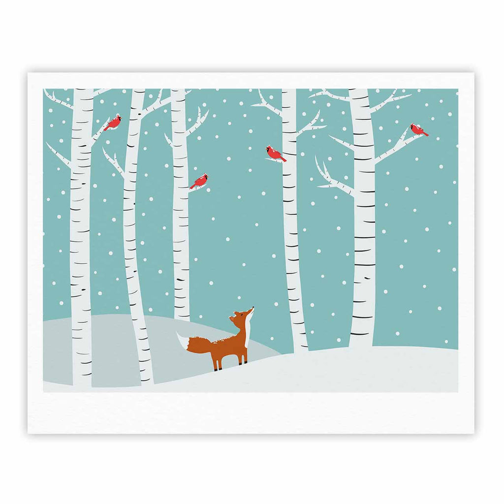 "Cristina bianco Design ""Fox Cardinals Winter"" Blue Kids Fine Art Gallery Print - KESS InHouse"