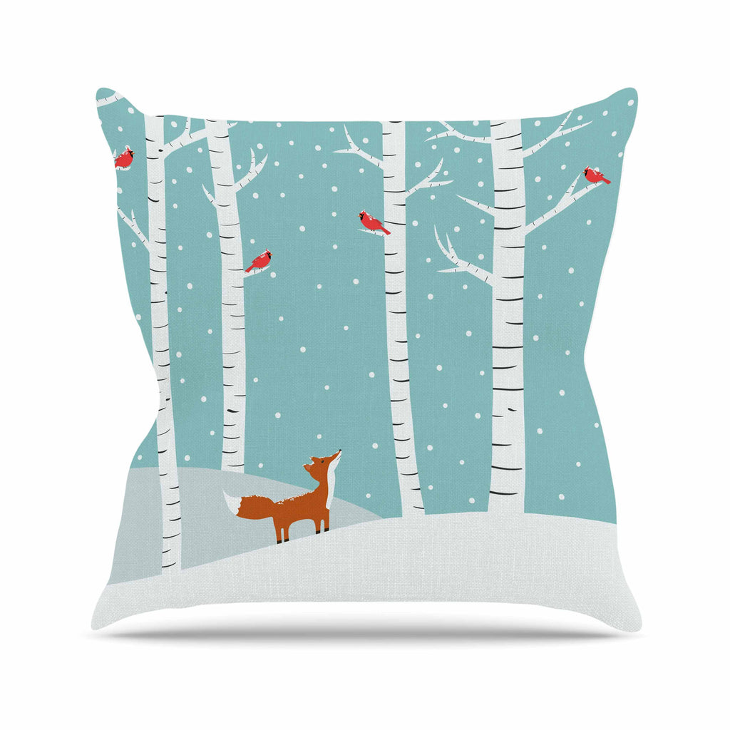 "Cristina bianco Design ""Fox Cardinals Winter"" Blue Kids Throw Pillow - KESS InHouse  - 1"