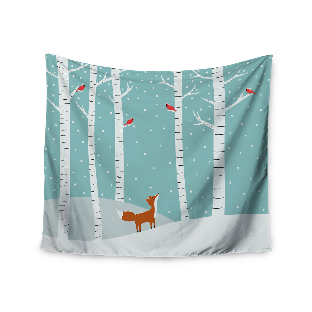 "Cristina bianco Design ""Fox Cardinals Winter"" Blue Kids Wall Tapestry - KESS InHouse  - 1"