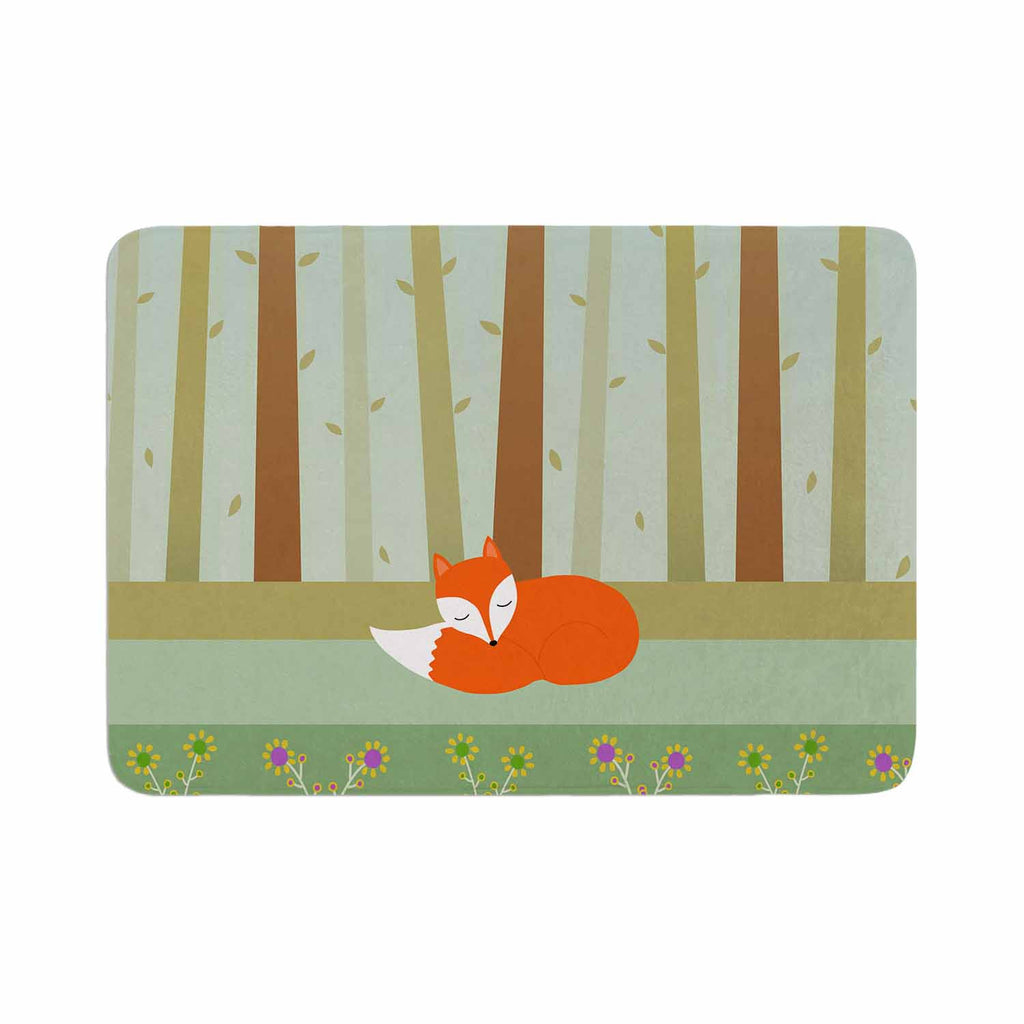 "Cristina bianco Design ""Sleeping Fox"" Green Illustration Memory Foam Bath Mat - KESS InHouse"