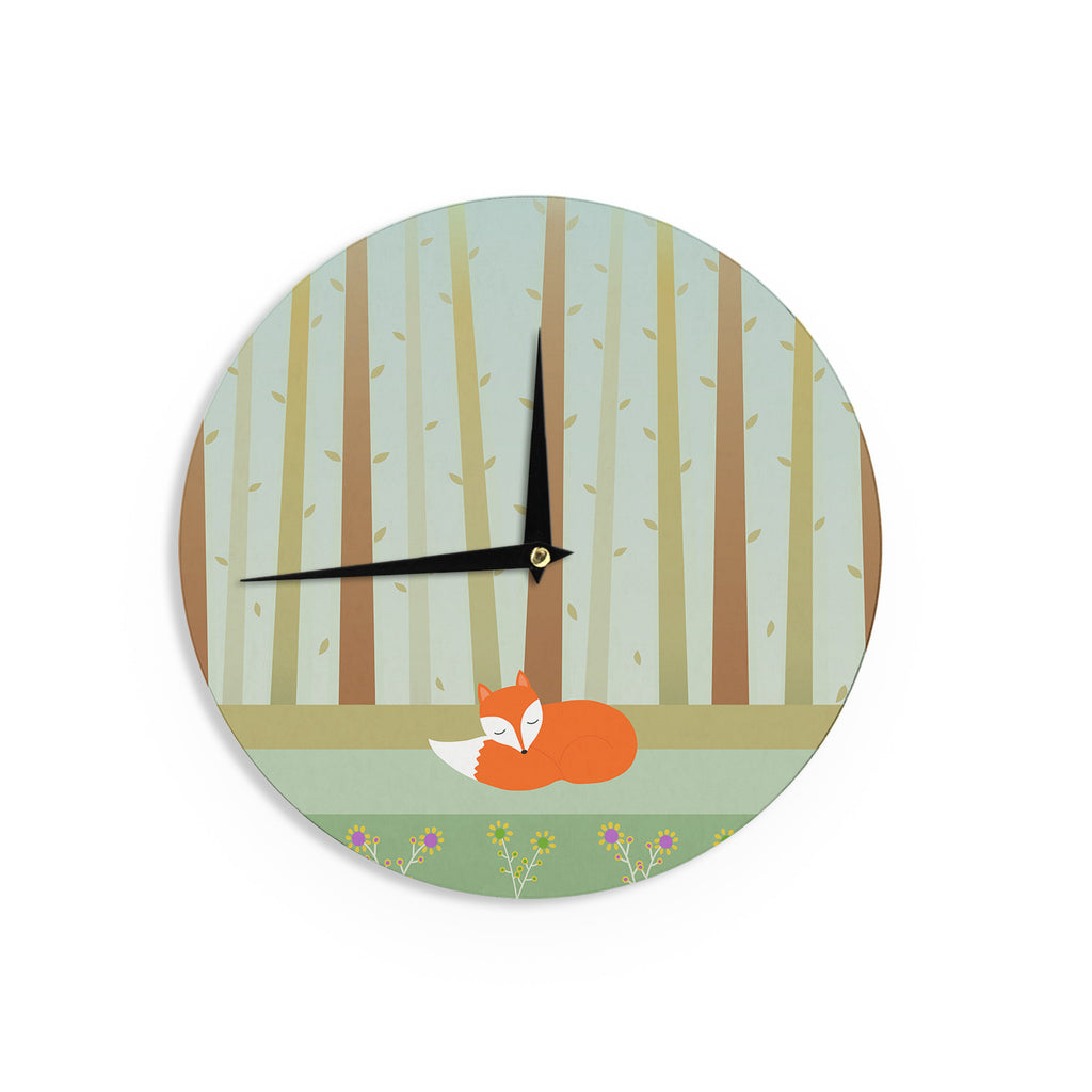 "Cristina bianco Design ""Sleeping Fox"" Green Illustration Wall Clock - KESS InHouse"