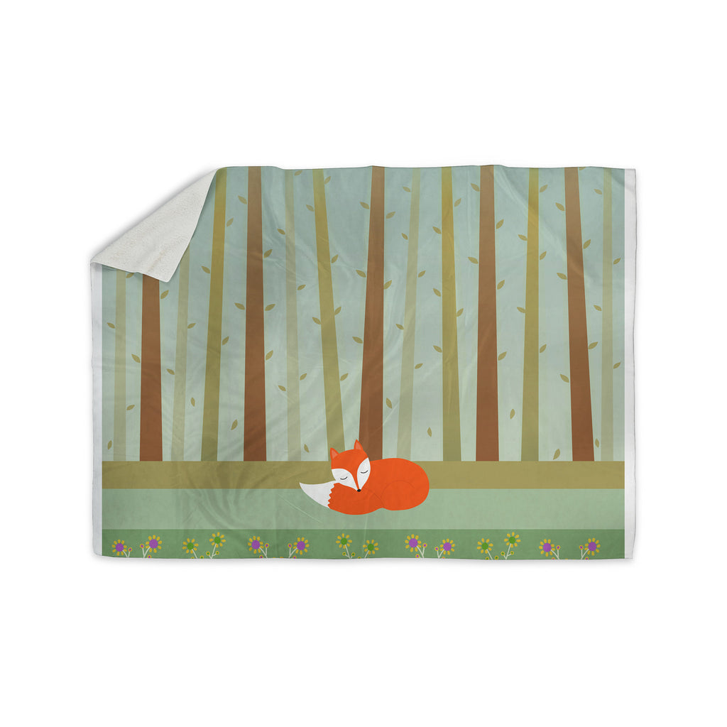 "Cristina bianco Design ""Sleeping Fox"" Green Illustration Sherpa Blanket - KESS InHouse  - 1"