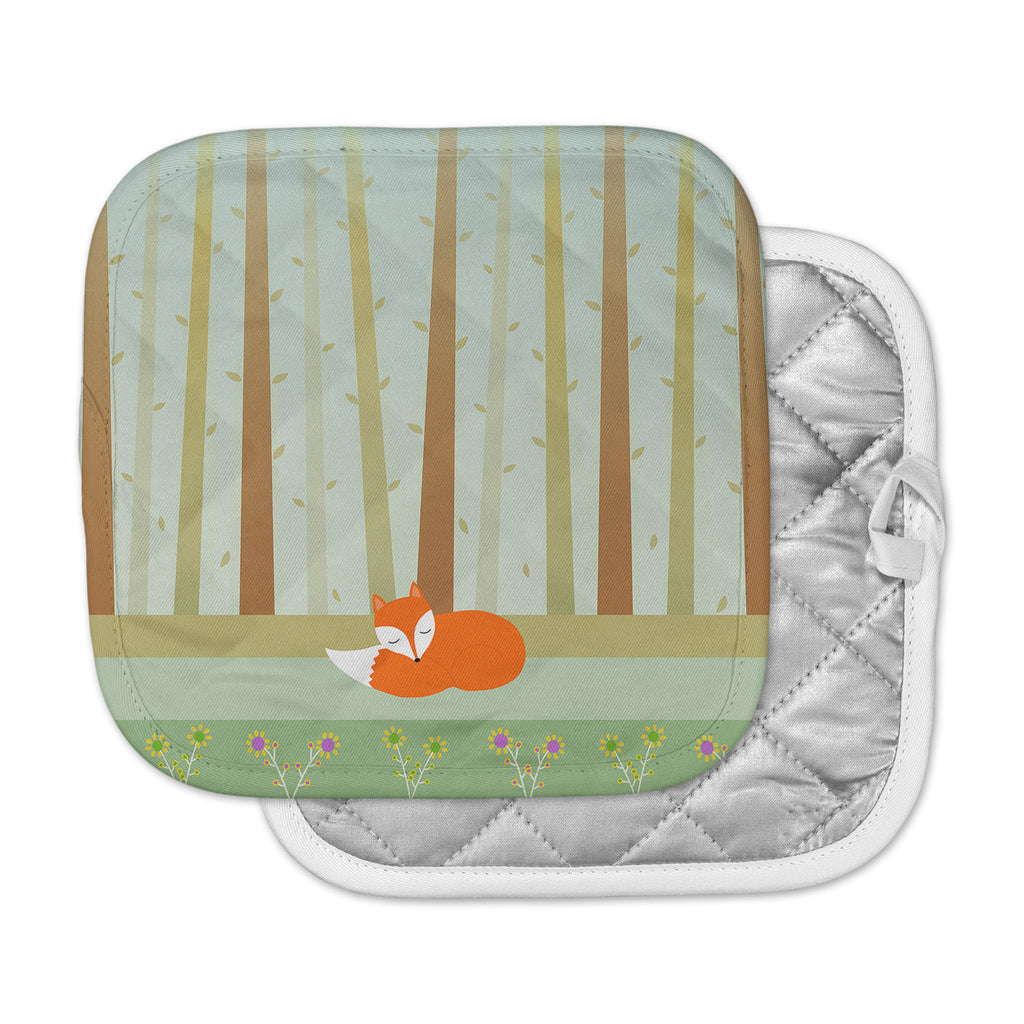 "Cristina bianco Design ""Sleeping Fox"" Green Illustration Pot Holder"