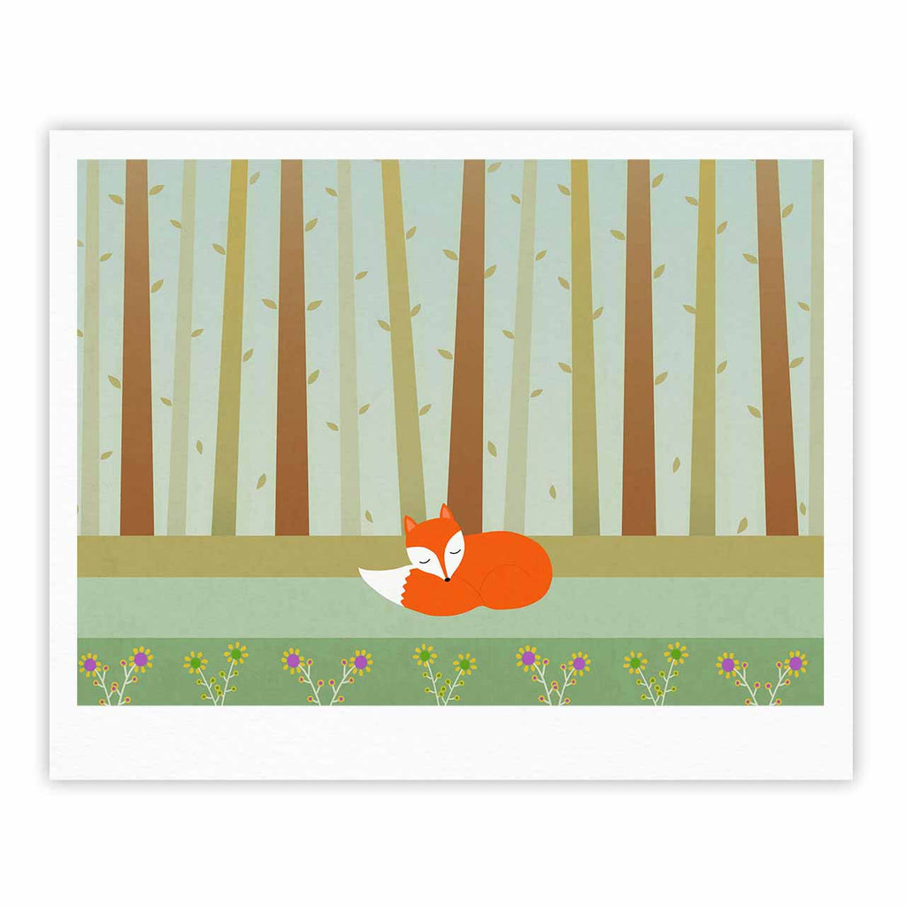 "Cristina bianco Design ""Sleeping Fox"" Green Illustration Fine Art Gallery Print - KESS InHouse"