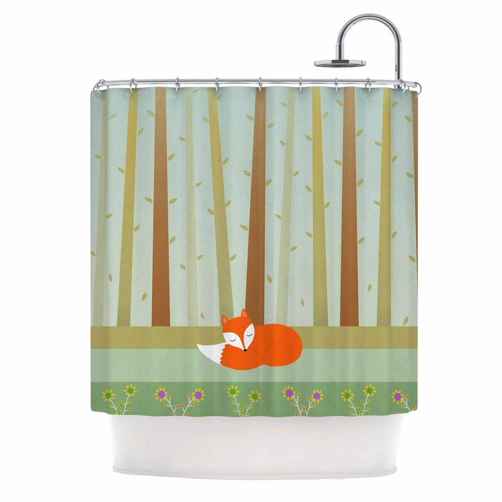"Cristina bianco Design ""Sleeping Fox"" Green Illustration Shower Curtain - KESS InHouse"