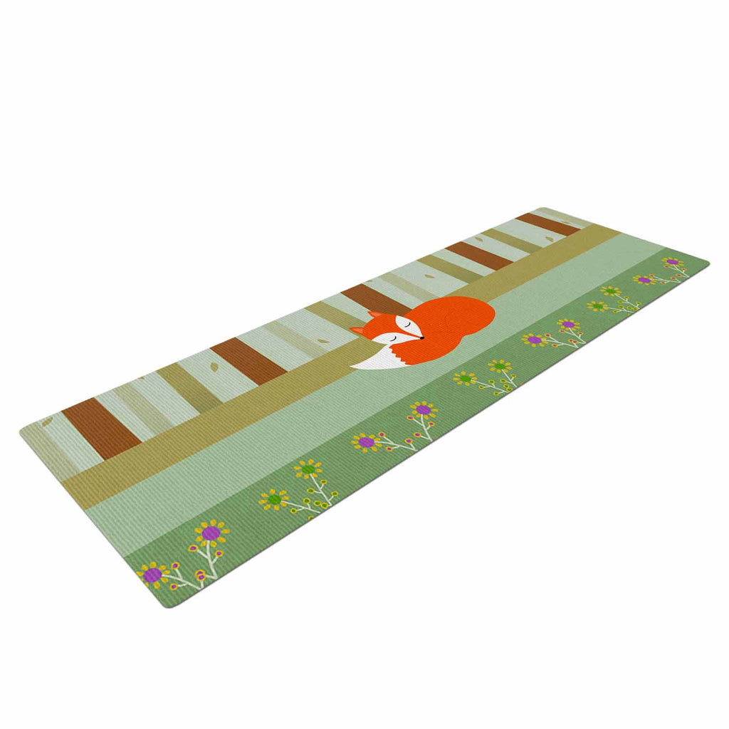 "Cristina bianco Design ""Sleeping Fox"" Green Illustration Yoga Mat - KESS InHouse  - 1"