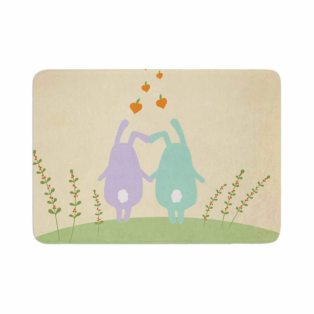 "Cristina bianco Design ""Cute Bunnies"" Beige Animals Memory Foam Bath Mat - KESS InHouse"
