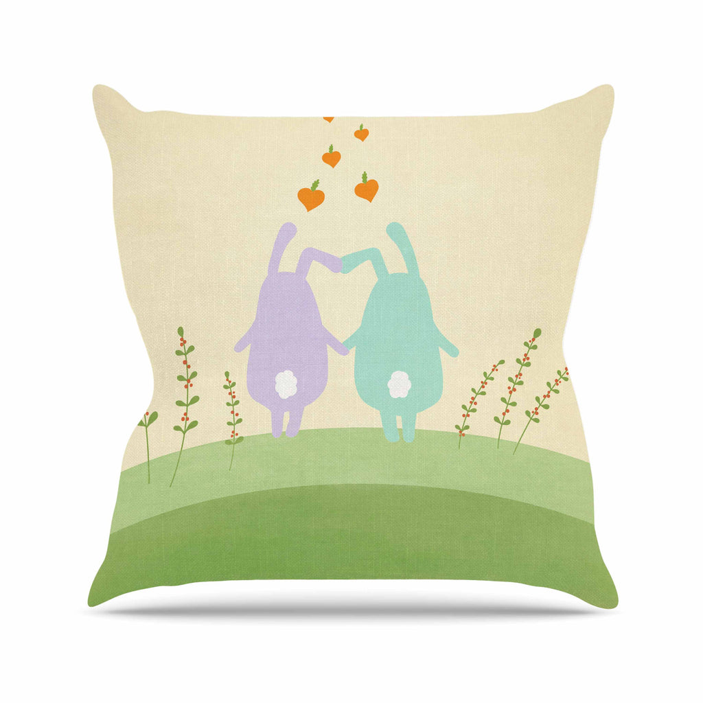 "Cristina bianco Design ""Cute Bunnies"" Beige Animals Outdoor Throw Pillow - KESS InHouse  - 1"