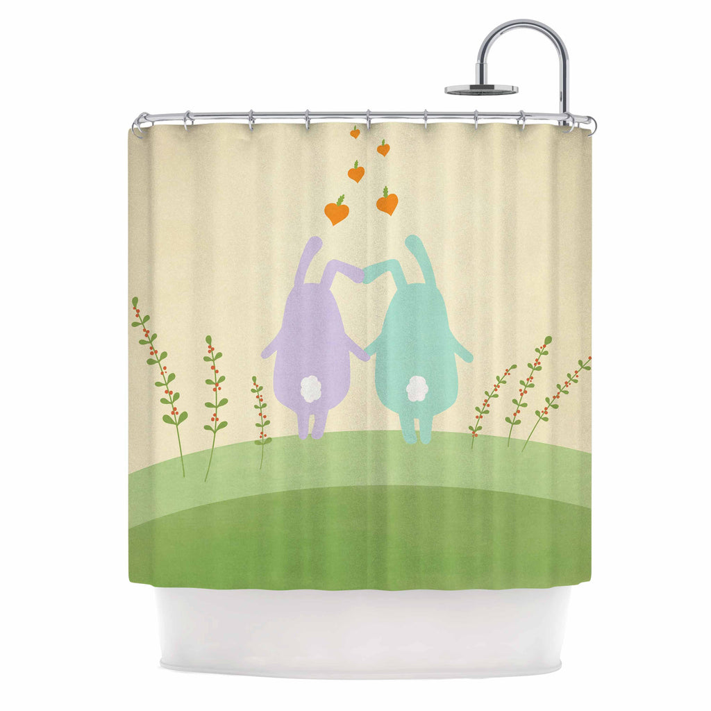 "Cristina bianco Design ""Cute Bunnies"" Beige Animals Shower Curtain - KESS InHouse"