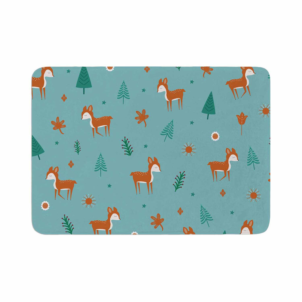 "Cristina bianco Design ""Cute Deer Pattern"" Teal Kids Memory Foam Bath Mat - KESS InHouse"