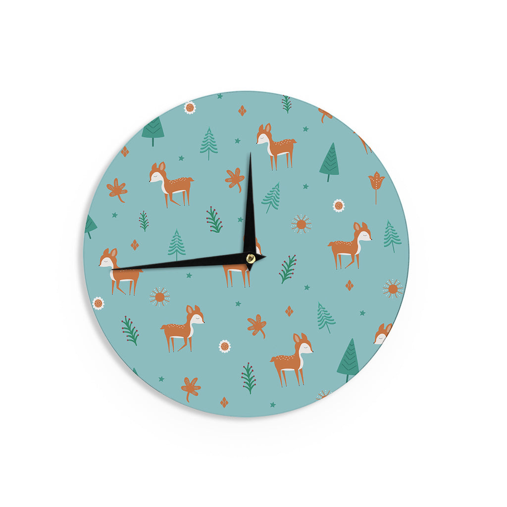 "Cristina bianco Design ""Cute Deer Pattern"" Teal Kids Wall Clock - KESS InHouse"