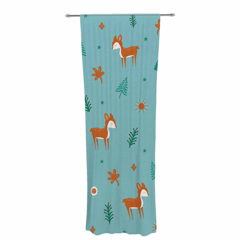 "Cristina bianco Design ""Cute Deer Pattern"" Teal Kids Decorative Sheer Curtain - KESS InHouse  - 1"