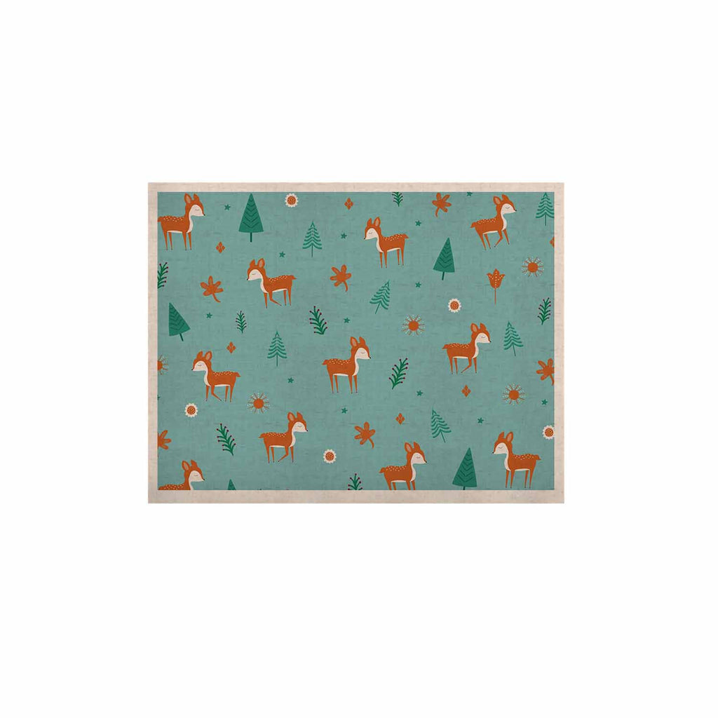 "Cristina bianco Design ""Cute Deer Pattern"" Teal Kids KESS Naturals Canvas (Frame not Included) - KESS InHouse  - 1"