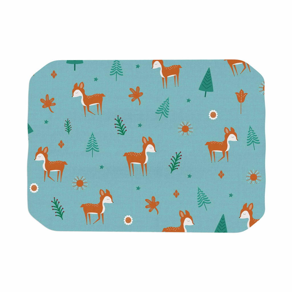 "Cristina bianco Design ""Cute Deer Pattern"" Teal Kids Place Mat - KESS InHouse"