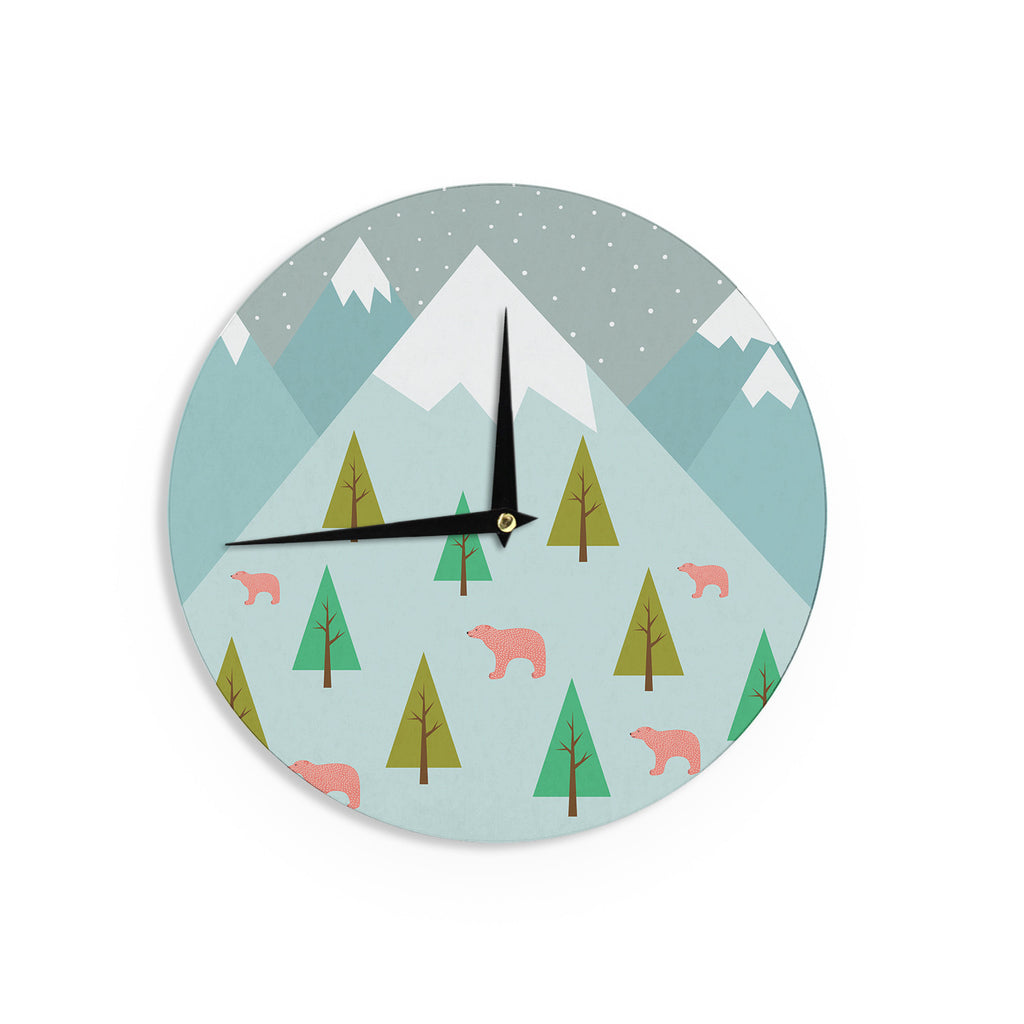 "Cristina bianco Design ""Bears Illustration"" Blue Nature Wall Clock - KESS InHouse"