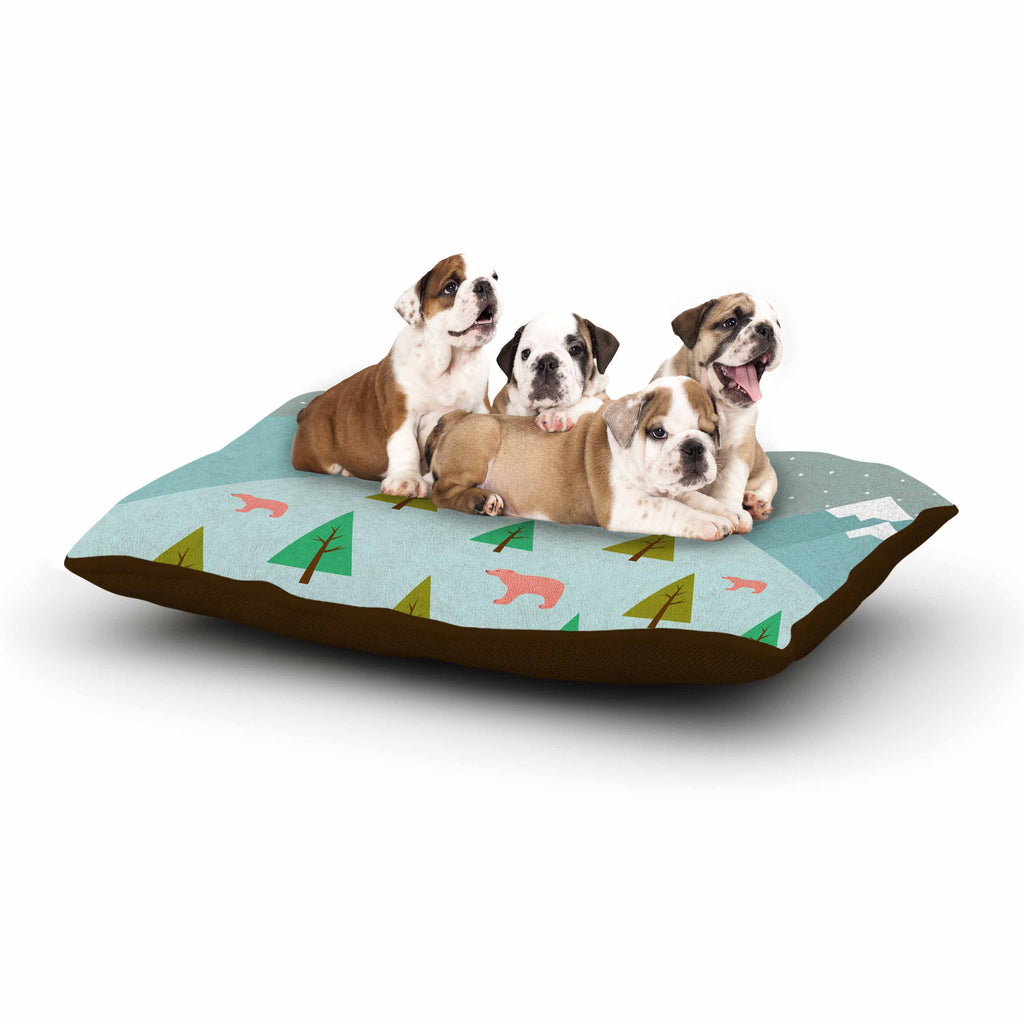 "Cristina bianco Design ""Bears Illustration"" Blue Nature Dog Bed - KESS InHouse  - 1"