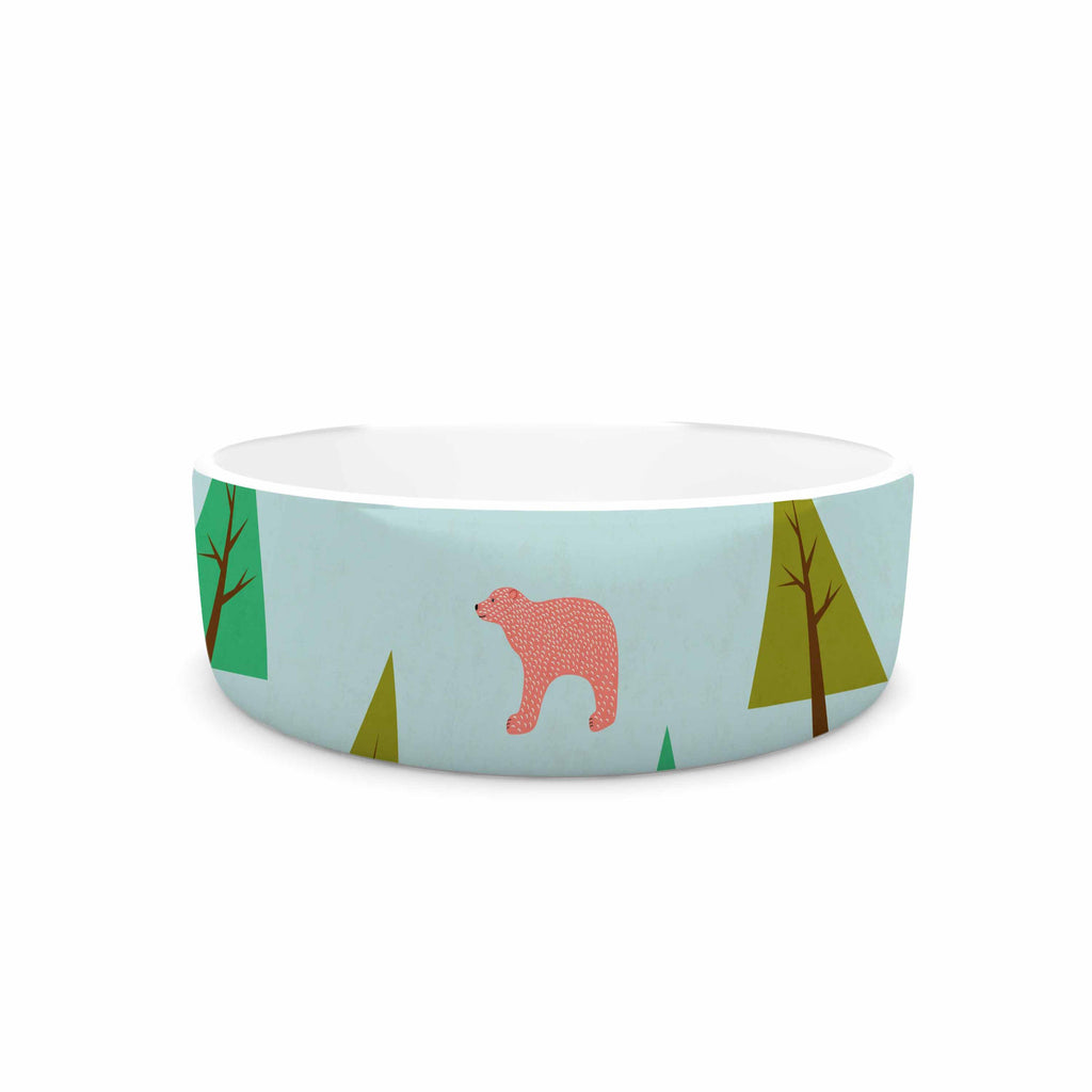 "Cristina bianco Design ""Bears Illustration"" Blue Nature Pet Bowl - KESS InHouse"