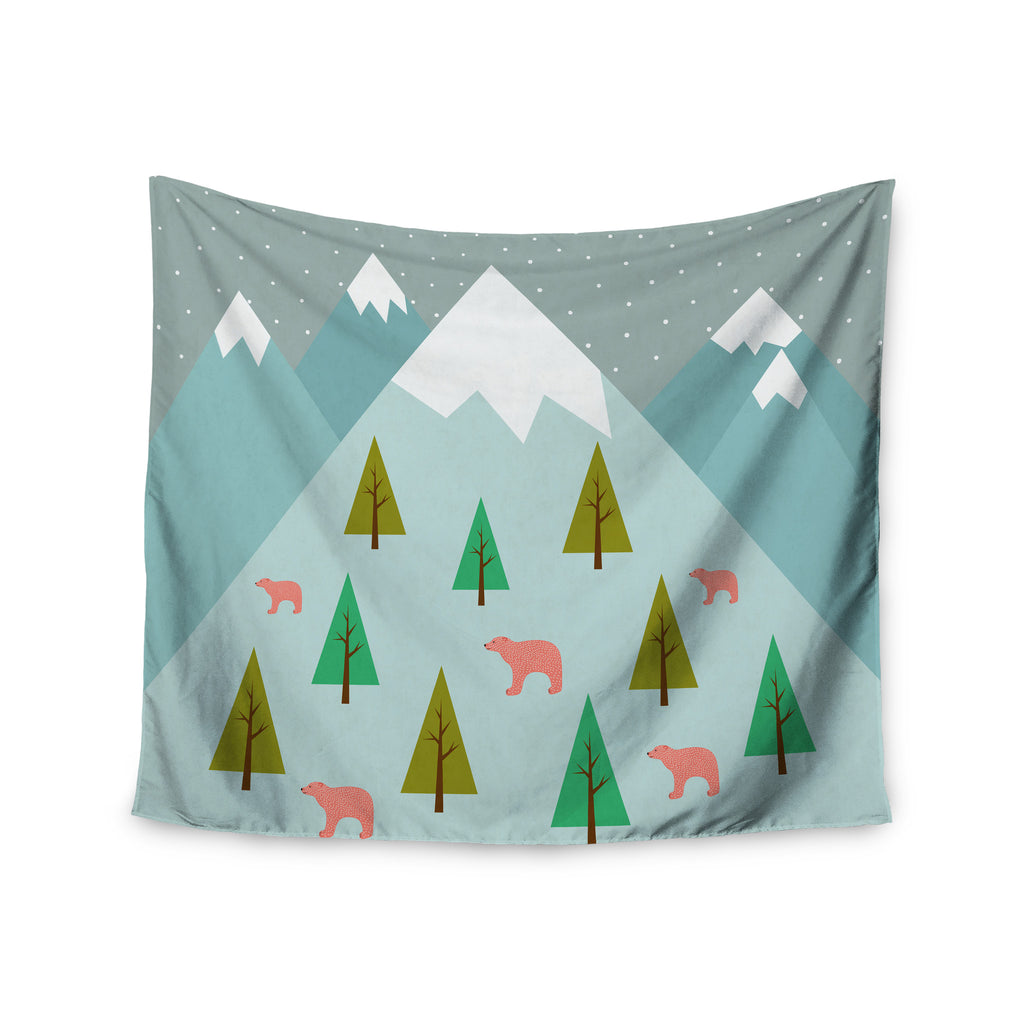 "Cristina bianco Design ""Bears Illustration"" Blue Nature Wall Tapestry - KESS InHouse  - 1"