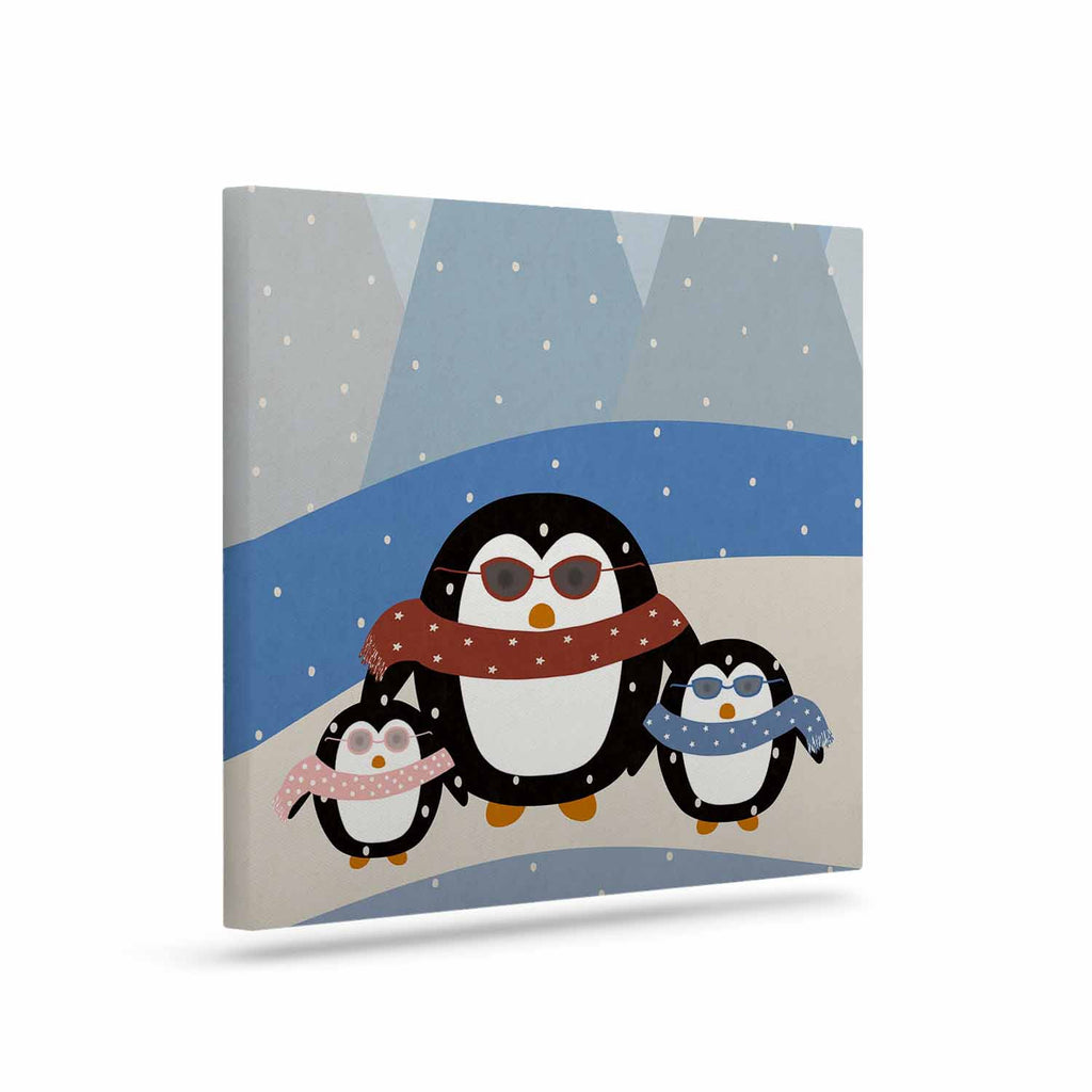 "Cristina bianco Design ""Cute Penguins"" Black Illustration Canvas Art - KESS InHouse  - 1"
