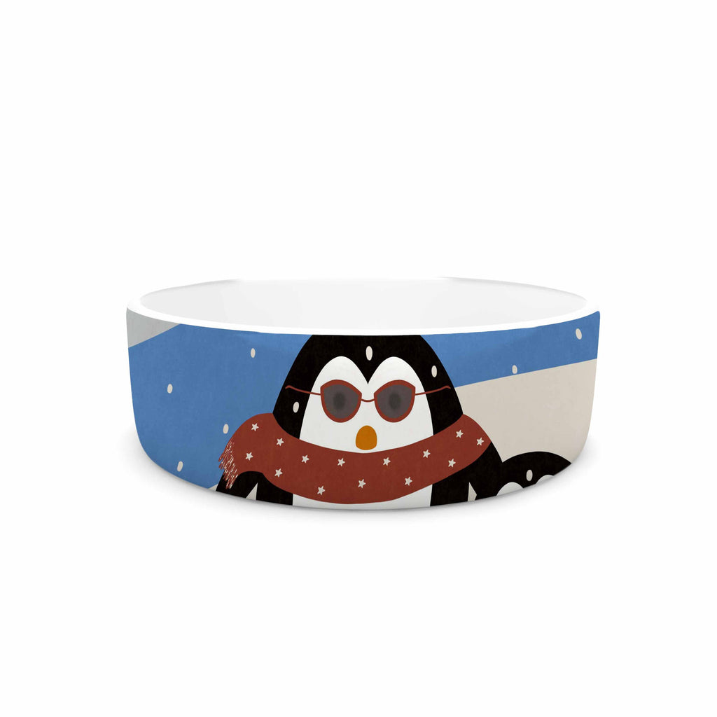 "Cristina bianco Design ""Cute Penguins"" Black Illustration Pet Bowl - KESS InHouse"
