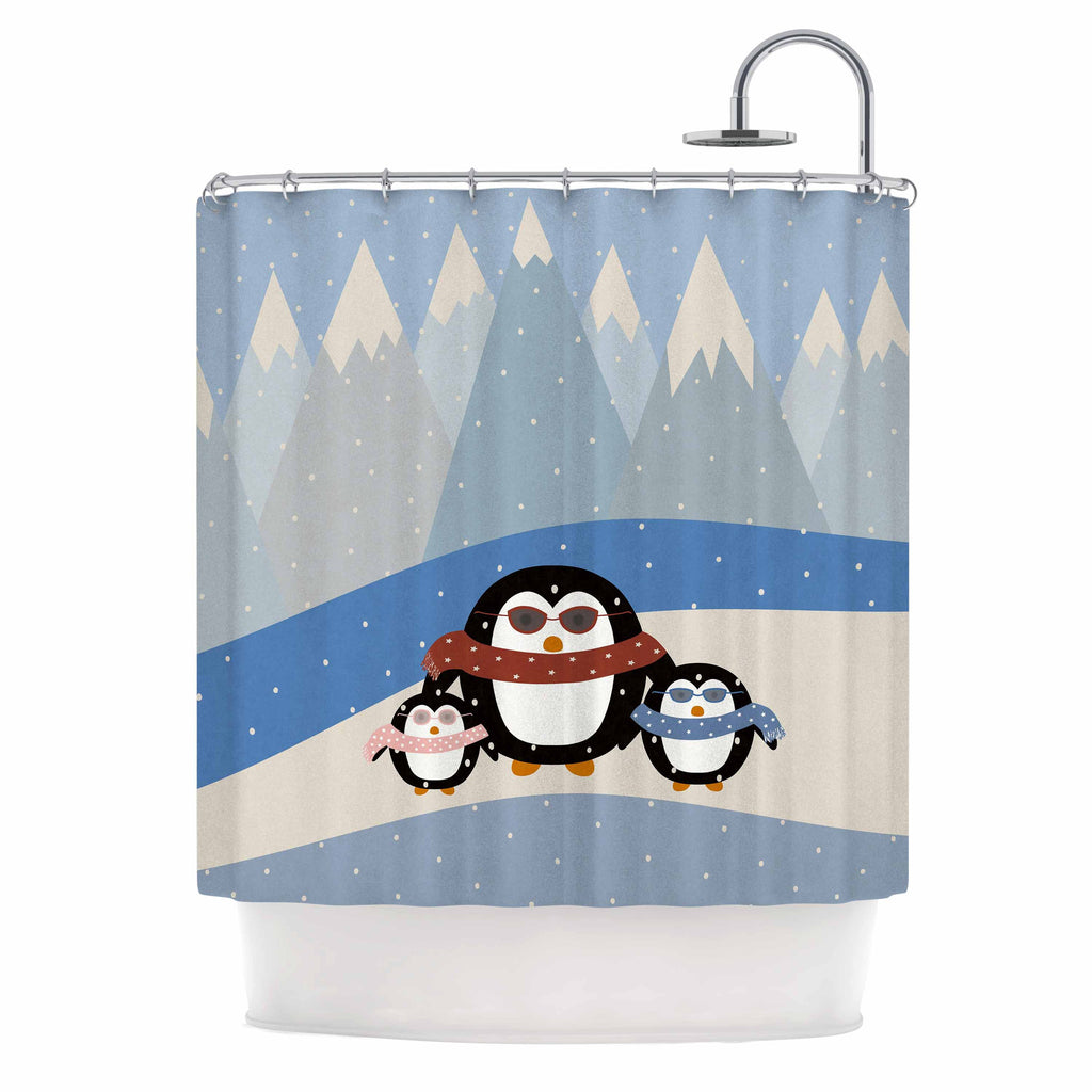"Cristina bianco Design ""Cute Penguins"" Black Illustration Shower Curtain - KESS InHouse"