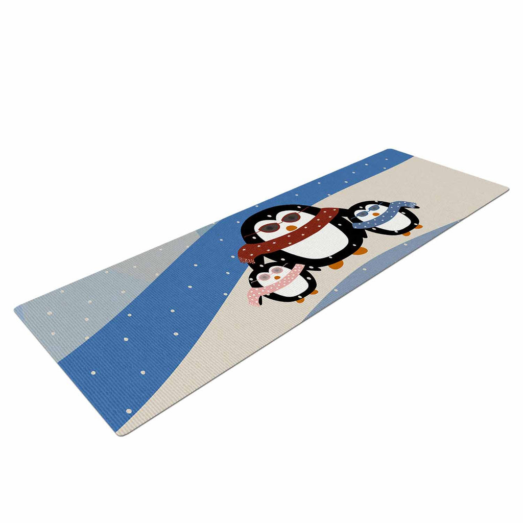 "Cristina bianco Design ""Cute Penguins"" Black Illustration Yoga Mat - KESS InHouse  - 1"