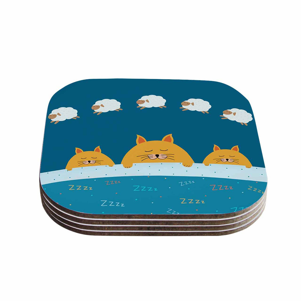 "Cristina bianco Design ""Sleeping Cats Zzzz"" Teal Animals Coasters (Set of 4)"