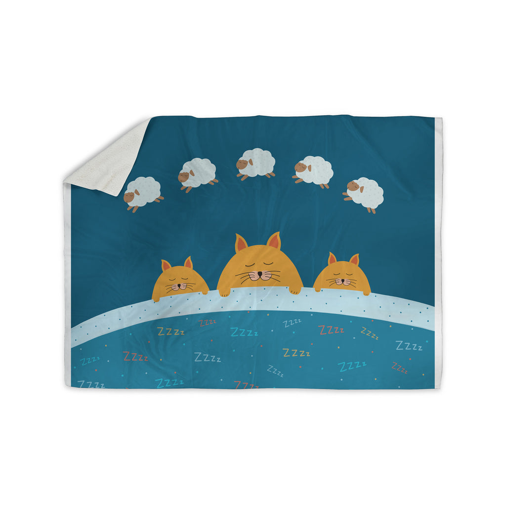 "Cristina bianco Design ""Sleeping Cats Zzzz"" Teal Animals Sherpa Blanket - KESS InHouse  - 1"
