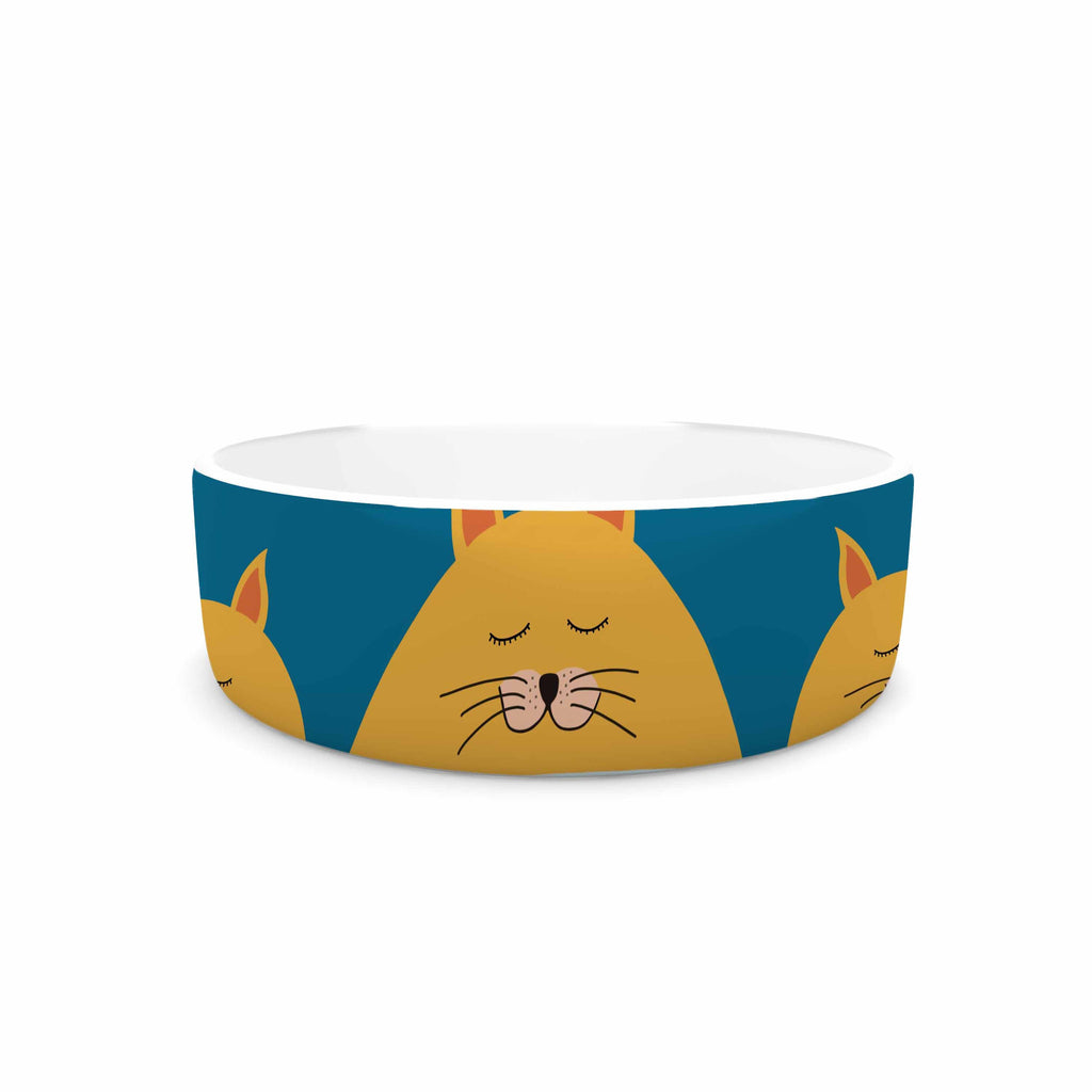 "Cristina bianco Design ""Sleeping Cats Zzzz"" Teal Animals Pet Bowl - KESS InHouse"