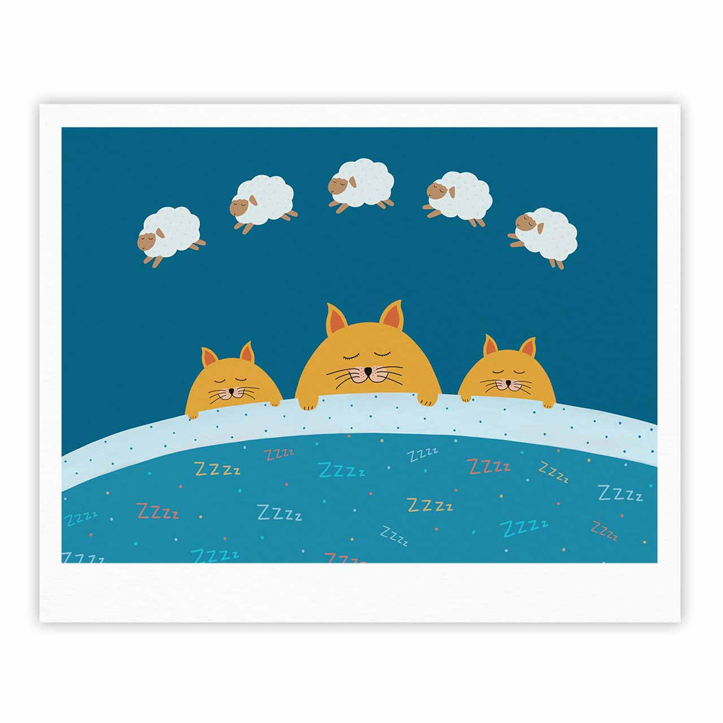 "Cristina bianco Design ""Sleeping Cats Zzzz"" Teal Animals Fine Art Gallery Print - KESS InHouse"
