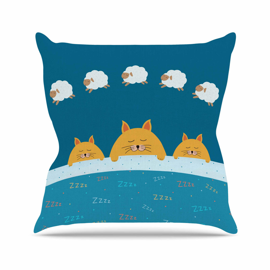 "Cristina bianco Design ""Sleeping Cats Zzzz"" Teal Animals Throw Pillow - KESS InHouse  - 1"