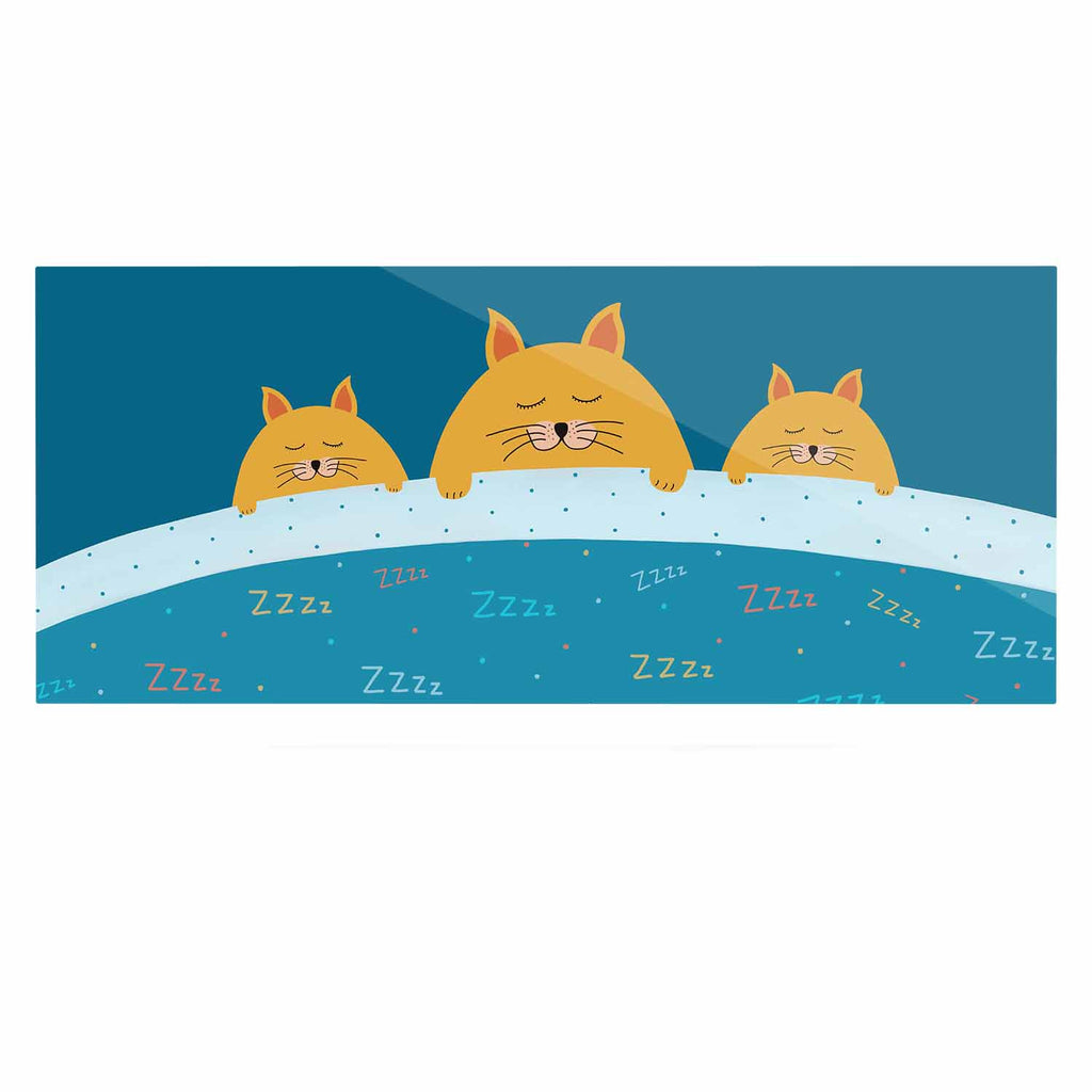 "Cristina bianco Design ""Sleeping Cats Zzzz"" Teal Animals Luxe Rectangle Panel - KESS InHouse  - 1"