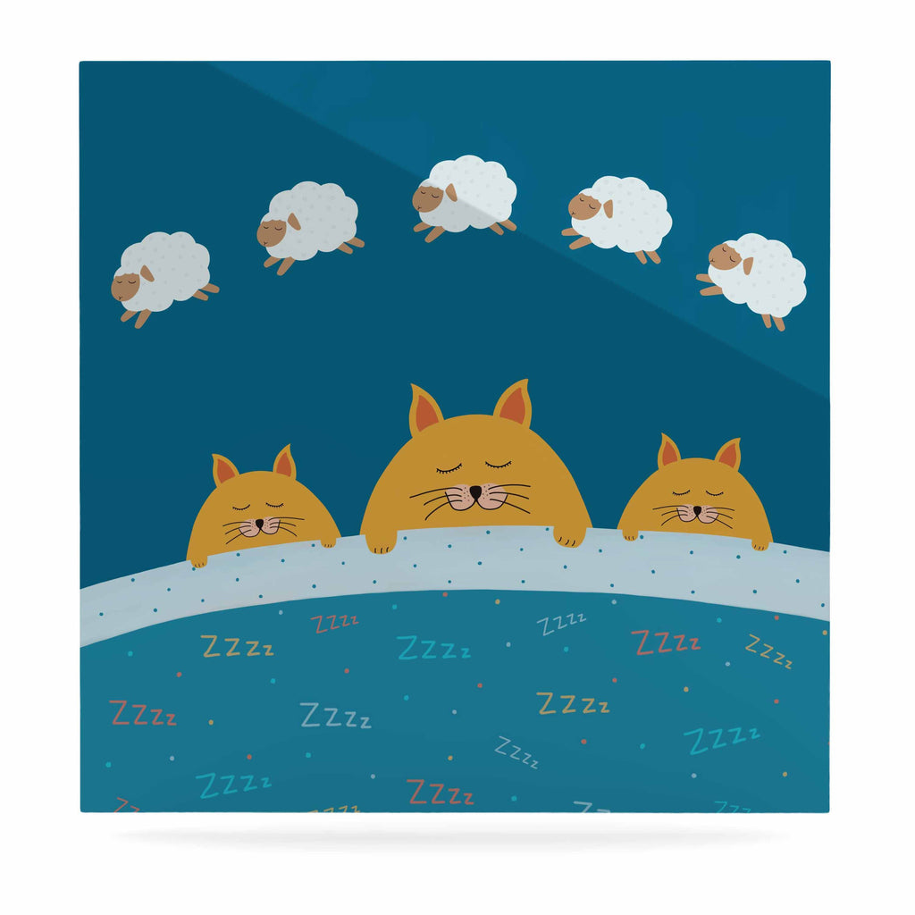 "Cristina bianco Design ""Sleeping Cats Zzzz"" Teal Animals Luxe Square Panel - KESS InHouse  - 1"