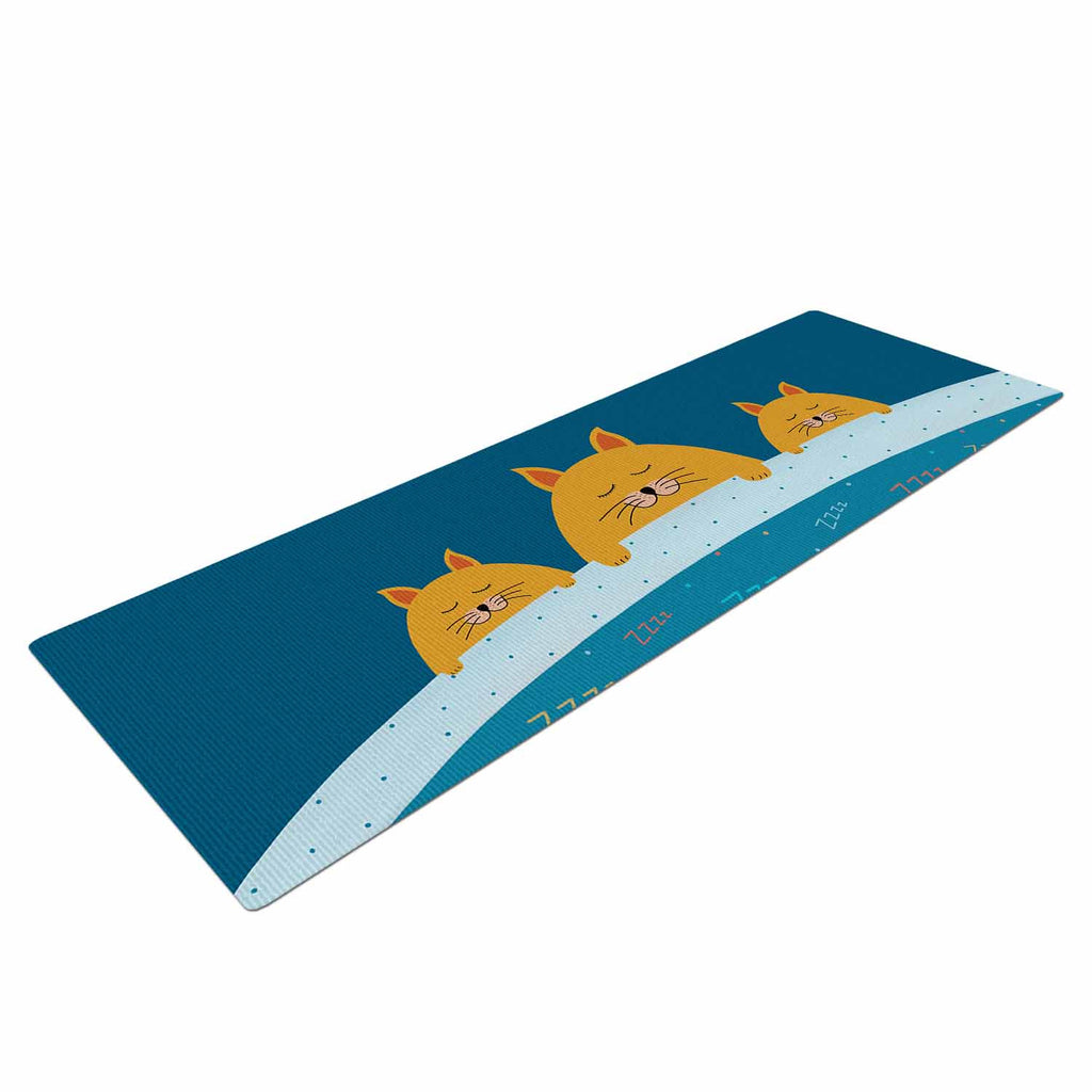 "Cristina bianco Design ""Sleeping Cats Zzzz"" Teal Animals Yoga Mat - KESS InHouse  - 1"