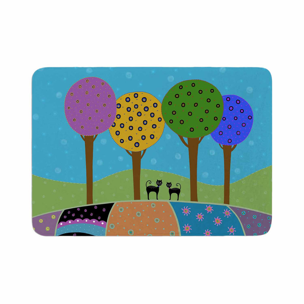 "Cristina bianco Design ""Cats & Colorful Landscape"" Pink Illustration Memory Foam Bath Mat - KESS InHouse"
