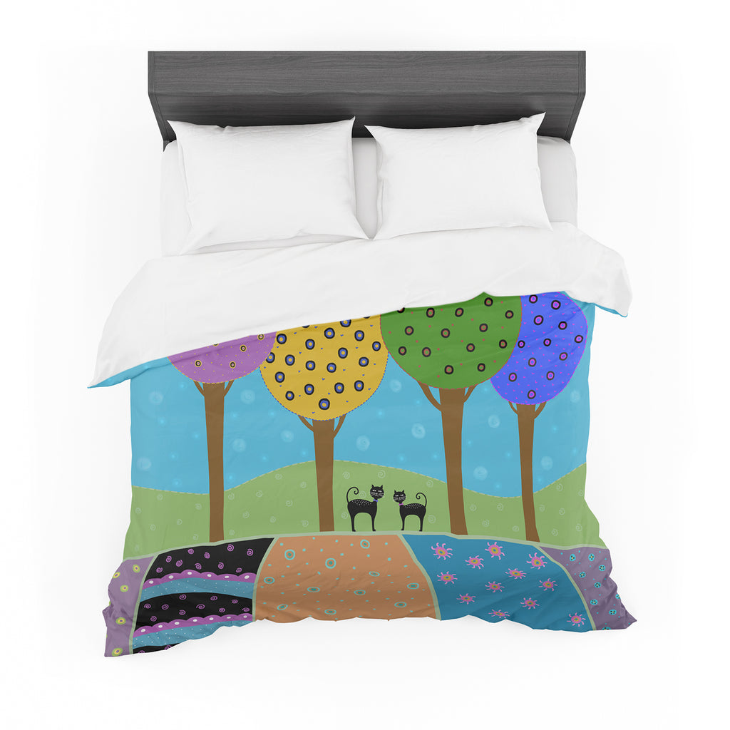 "Cristina bianco Design ""Cats & Colorful Landscape"" Pink Illustration Featherweight Duvet Cover"