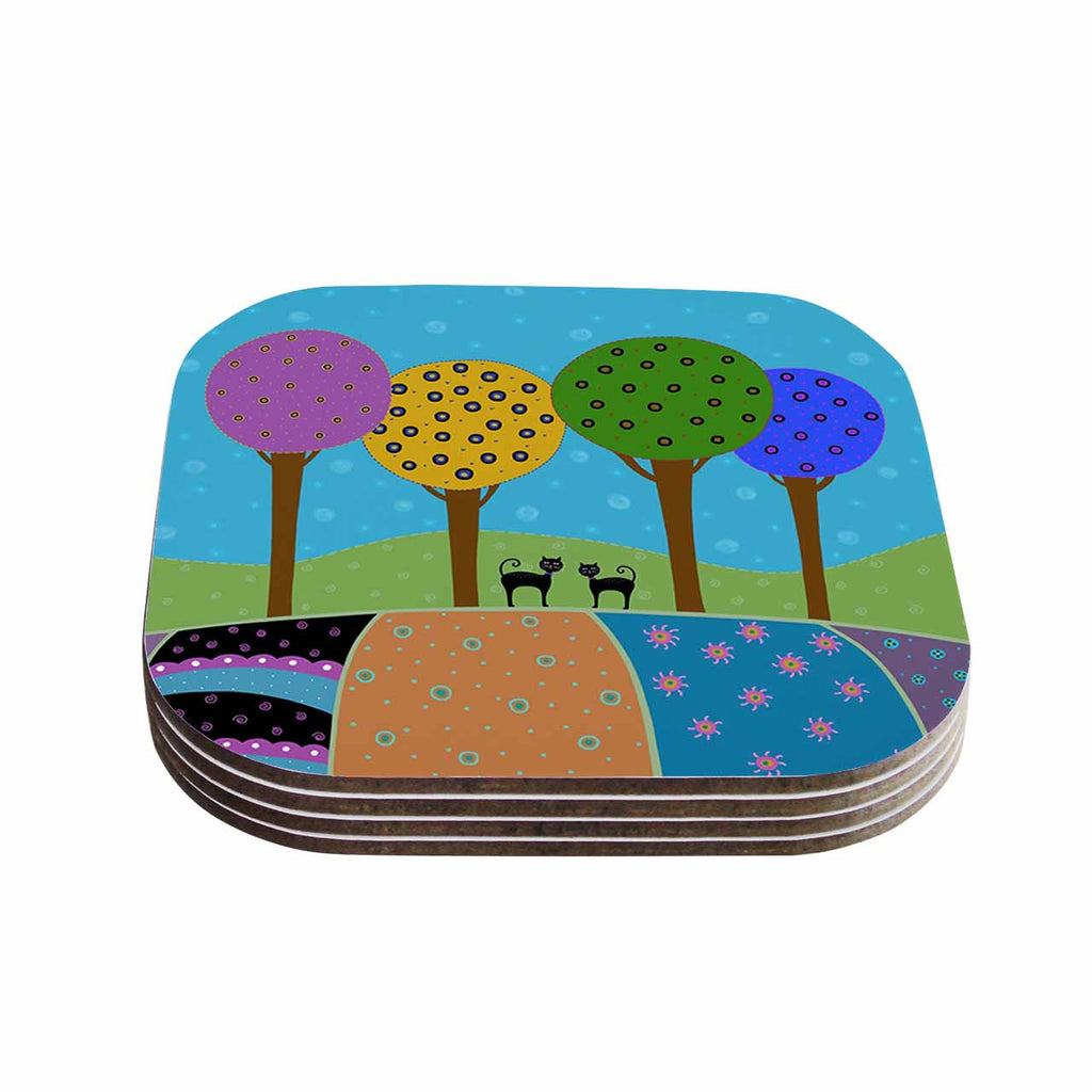 "Cristina bianco Design ""Cats & Colorful Landscape"" Pink Illustration Coasters (Set of 4)"