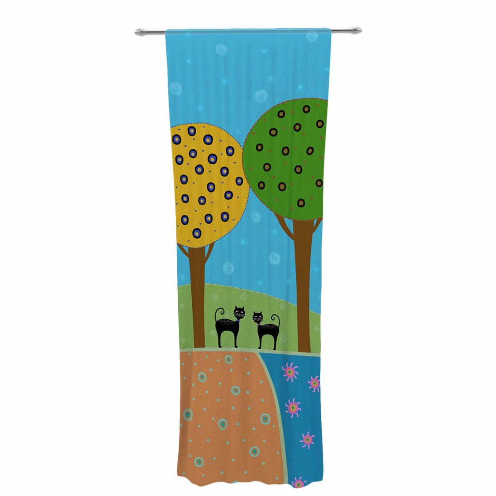 "Cristina bianco Design ""Cats & Colorful Landscape"" Pink Illustration Decorative Sheer Curtain - KESS InHouse  - 1"